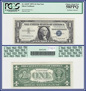 Star Note 1957A $1 Silver Certificate Dollar PCGS 58 PPQ AU About Unc New
