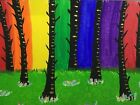Hand Painted ACEO Art  Bright Rainbow Forest