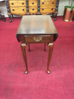 Harden Cherry Drop Leaf End Table - One Drawer - Queen Anne - Delivery Available