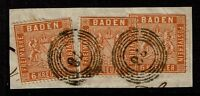 Baden SC# 13, Used, Cut on piece x 3, (Noted as Mi# 11b), see notes - S4162