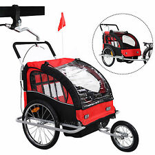 2in1 Kids Baby Child Bicycle Bike Trailer Carrier Jogging Stroller Brake 3 Wheel