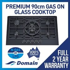 Domain 90cm 5 Burner Black Glass Gas Cooktop Hob + Cast Iron Trivets + Wok-890mm