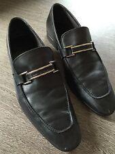 Ermenegildo Zegna men's black leather shoe loafer 10.5 hand made italy silver