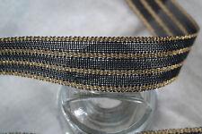 """Bty 1.5"""" french black & gold striped vtg nylon straw ribbon braid trim millinery"""