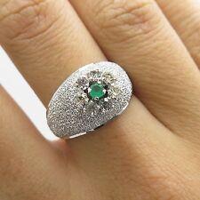 Vtg 800 Silver Natural Emerald Gemstone Wide Ring Size 6