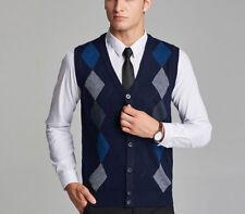 New Men Knitted Vest Coat Sweater Business Cardigan Waistcoat Formal V-neck Warm