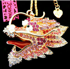 Betsey Johnson Pink Crystal Dragon Gold Pendant Chain Necklace Free Gift Bag