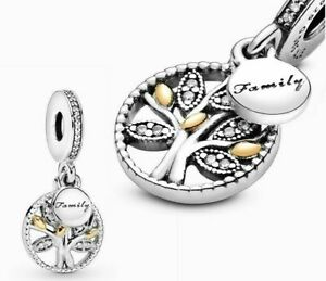 Genuine Pandora Silver ALE 925 Sparkling Family Tree Dangle Charm 791728CZ