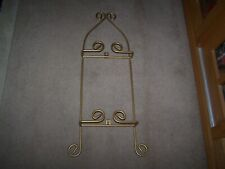 "DECORATIVE LARGE 9"""" PLATE / 2 PER WALL DISPLAY HANGER 25"" T GOLD PAINTED"