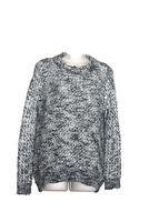 Anthropologie Ella Moss Womens Size Medium Black White Sweater Elbow Patches
