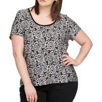 TOMMY HILFIGER NEW Women's Black Scoop Neck Printed T-shirt Top TEDO