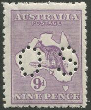 Kangaroos - 3rd Wmk: 1915-28 (SG.047b) 9d Violet perf. 'OS' (Die 2B). MUH.