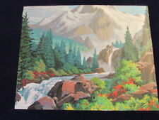 """Completed Paint by Number Painting 20x16"""" Mtn Stream Ready to Frame Canvas S97"""