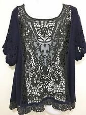 Free People Womens M Navy Blue Black Boho Lacy Cut-Out Pullover Sweater Tunic