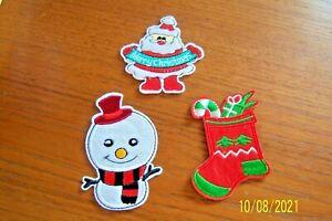 3 CHRISTMAS BADGES IRON ON OR SEW SANTA, SNOWMAN & XMAS STOCKING CRAFT BRANDNEW