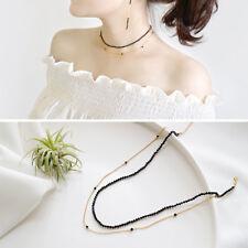 Doppel Halskette Obsidian schwarz echt Sterling Silber 925 Farbe Gold Damen