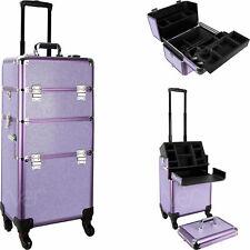 Purple Krystal 4-Wheels Professional Rolling Aluminum Cosmetic Makeup Case an...