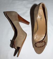 $189 MICAM Joanne Mercer PEEP-TOE bead HEELS 8.5 CAMEL SUEDE leather designer