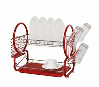 High Quality Red Stainless Steel 2 Tier Dish Drainer Rack Glass Utensil