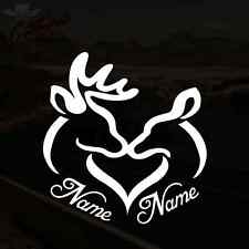 Personalized Deer Heart Decal Doe Buck Hunting Vinyl Sticker *PICK SIZE & COLOR*