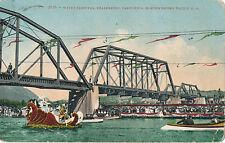 c1910 Healdsburg, California Water Carnival, Boats, Floats, RR Bridge Postcard