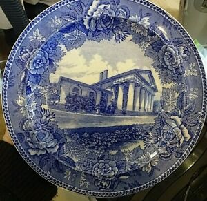 Rare Vintage Wedgwood Blue and White Arlington Home of Martha Custis /Washington