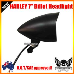 "7"" black billet bullet head light Harley Sportster XL DYNA Chopper softail VROD"