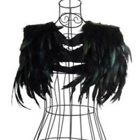 Black Party Wrap Fringe Feather Collar Cape Shawl Handmade Halloween Dress Jazz