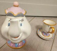 MRS POTTS TEAPOT WITH CHIP TEA CUP AND SAUCER / Samovar Théière Tasse Zip Disney