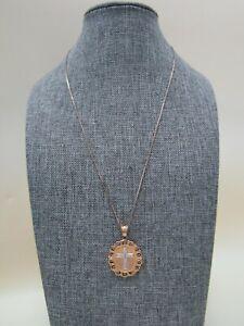 "17 7/8"" Vermeil Sterling Silver Diamond Accent Cross Pendant Necklace"