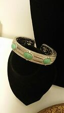 Judith Ripka Sterling Silver Turquoise Hinged Heavy Cuff Bracelet QVC R5342