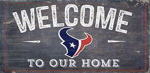 """Houston Texans Welcome to our Home Wood Sign - NEW 12"""" x 6""""  Decoration Gift"""