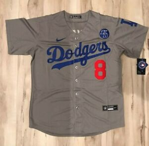 Kobe Bryant #8 Front & #24 Back Los Angeles L.A. Dodgers Grey Stitched Jersey