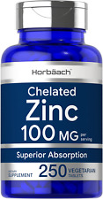 Chelated Zinc Supplement 100mg | 250 Tablets | High Potency | by Horbaach