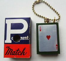 NOS PERMANENT MATCH LIGHTER key chain ACE OF HEARTS w/ BOX & PAPER - GREEN