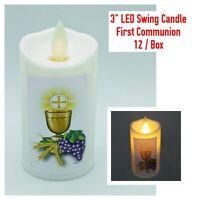 12 Religious Catholic Plastic Swing LED Candle Light First Holy Communion Favor