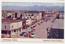ANCHORAGE AK 1950s Cars Main Street Northwest Orient Airlines postcard
