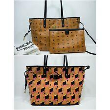 100% Authentic MCM Cognac Visetos *Reversible* Shopper Shoulder Bag  + Pouch