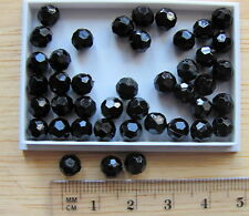 150 black round opaque faceted plastic acrylic beads 6mm solid colour