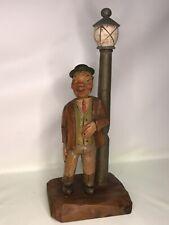 Anri Figurine - Smiling Drunk Near Lamp Post - Bottle Opener & Corkscrew Bar Set