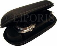 Uhrbox Textil Reise Etui schwarz mit Schaum Polster und Reißverschluss ohne Uhr