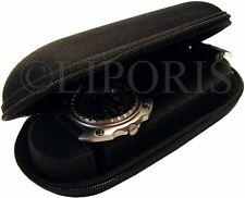 Uhrbox Textil Reise Etui schwarz Schaum Polster watch travel case Box ohne Uhr