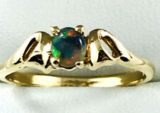 18k Solid Black Opal RING_Natural Australian Opal_750 yellow gold_claw setting
