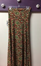 LuLaRoe Paisley Rust Gold Flared Maxi Skirt Dress Size XXS Petite