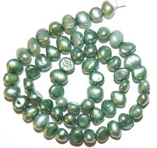 """NP172 Green 6mm Freshwater Cultured Potato Pearl Beads 15"""""""