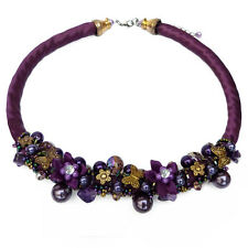 Collier Soirée idée cadeau mariage : Soie Violette fleurs  papillons doré perles