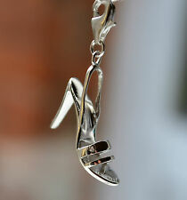Sterling Silver 925 3D Large High Heeled Shoe Clip On Charm
