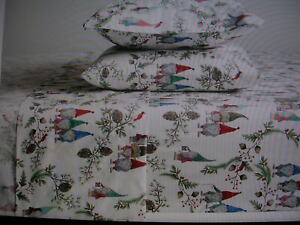 POTTERY BARN FOREST GNOME FULL SHEET SET 100% ORGANIC COTTON NEW WITH TAGS