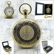 Christian Religious CROSS Gold Antique Quartz Pocket Watch on chain Gift Box C34