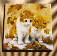Dekofliese Geburtstag Danke Mitbringsel Geschenkidee Herbst Katzen (052)